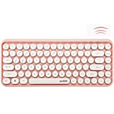FELiCON Wireless Bluetooth Keyboard, Compact 84 keys Lightweight Keyboard,Retro Style,Matte Texture,Typewriter Design,Compatible with Android, iOS, Windows,for PC,Laptop,Smartphone (Pink)