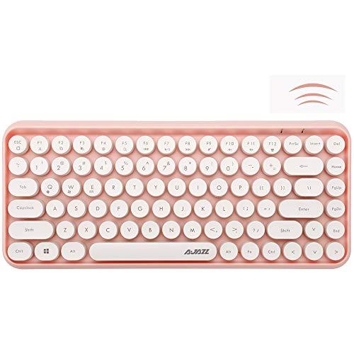 FELICON Bluetooth Tastatur 2,4 GHz Kabellose, Kompakte, Leichte Tastatur im Retro-Stil, Matte Textur, 84 Tasten, Kompatibel mit Android und Anderen Geräten,Geeignet für Heim- und Bürotastaturen(Rosa)