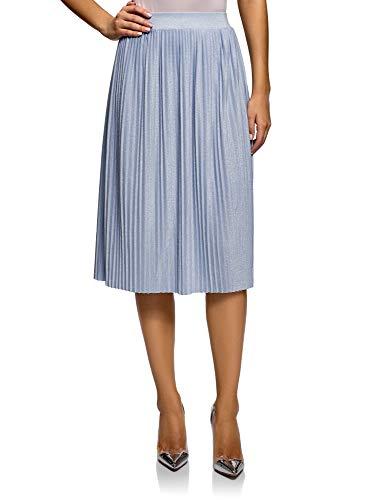 Oodji Ultra Mujer Falda Midi Plisada, Azul, ES 44 / XL