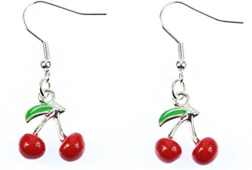 Kirschen Ohrringe Hänger Miniblings Cherry Kirsche Rockabilly 3D rot emailliert