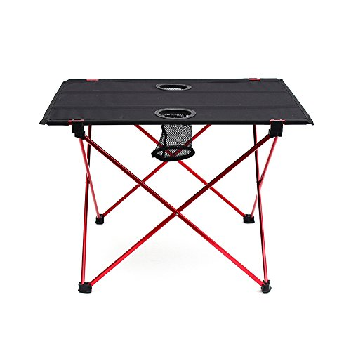 Outry Lightweight Folding Table with Cup Holders, Portable Camp Table (M - Unfolded: 22' x 17' x...