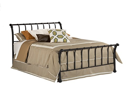 Hillsdale Furniture 1671BKR Janis Metal Sleigh Bed Set with Rails, King, Textured Black