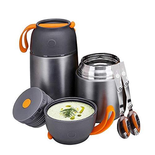 YGJT Thermobehälter im Set(500ml & 700ml) mit faltbaren Löffel und Gabel für Kinder/Erwachsene, Edelstahl Isolierbehälter für Mittag Essen, Speißen, Suppe, Babynahrung, Joghurt (Grau)