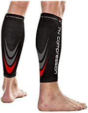 NV Compression 365 Calentadores de pantorrilla de compresión Negros - Compression Calf Sleeves - Black - For Sports Recovery, Work, Flight - Running, Cycling, Soccer, Rugby, Fitness, Gym, Golf, Tennis, Triathlon