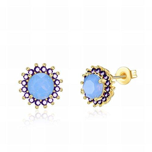 YZQ Pendientes de Mujer,un Par de Pendientes de Oro K Peque?os Y Exquisitos Pendientes de Tendencia de Moda Serie Opal/Pendientes de Gota de Cristal/Elemento de Cristal
