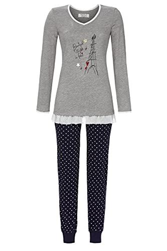 Ringella Lingerie Damen Pyjama mit V-Ausschnitt grau-Melange 38 1561201,grau-Melange, 38