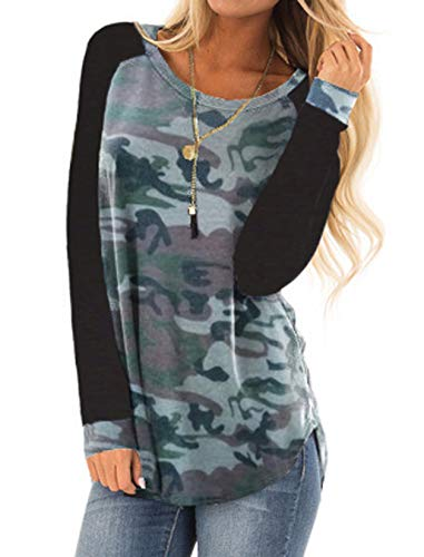 Halife Fall Clothes For Women Tunic Tops Casual Printed Blouses Shirts Boho Style Camo L