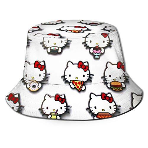 He-llo-Ki-tty Sombrero de Cubo Sombreros de Pescador Sombreros de Cubo de Doble Cara con Estampado Unisex Moda de Verano Protector Solar Visera Plegable Deporte al Aire Libre Cap-228