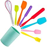 Silicone Spatula Set, E-far 9 PCS Heat Resistant Rubber Spatulas Kitchen Utensils for Nonstick Cookware Baking Cooking Mixing, Seamless & Flexible, Vibrant Colored & Dishwasher Safe