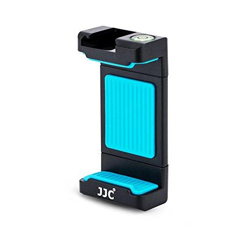 JJC Universal Stativ Halterung mit 56–105 mm Verstellbare Klemme, Cold Shoe Mount und Wasserwaage für Smartphones z.b. iPhone, Huawei, mi, Samsung auf 1/4–20 Stativ, Einbeinstativ, Selfie Stick (Blau)