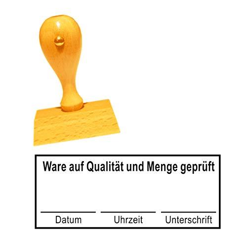 Stempel Bürostempel « WARE AUF QUALITÄT UND MENGE GEPRÜFT » Abdruckgröße ca. 60 x 25 mm - Buchungsstempel Kontierungsstempel - für Büro, Verwaltung, Buchhaltung, Steuerbüro