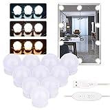 Lirex Luces de Vanidad, Luces de Espejo de Vanidad Ajustable Estilo Hollywood con 10 Bombillas Regulables, 9 De Brillo, 3 Modos de Color y fuente de alimentación USB, Sin Espejo - Blanco