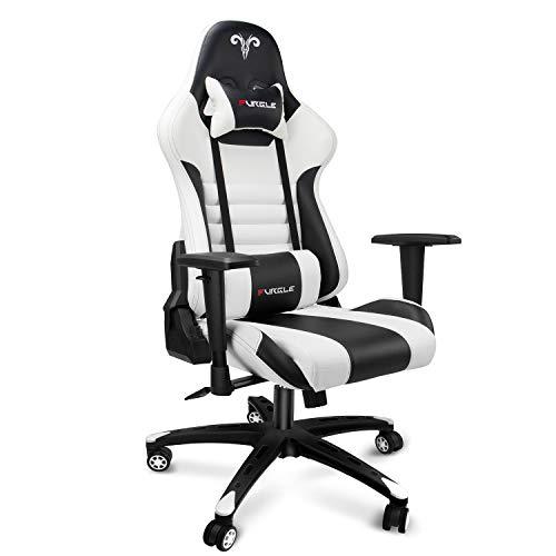 Furgle Office Gaming Chair Silla de Carreras con Respaldo Alto y reposabrazos Ajustables 4D Piel sintética Silla de Videojuegos giratoria con Modo balancín (Blanco & Negro)