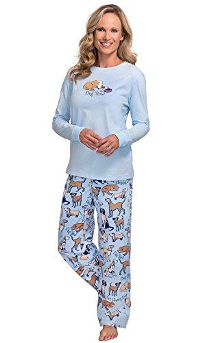 PajamaGram Cotton Flannel Pajamas Women - Pajamas for Women, Blue Dog, M, 8-10