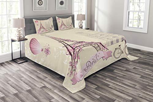 ABAKUHAUS Kuss Tagesdecke Set, Floral Paris Symbol Eiffel, Set mit Kissenbezug Klare Farben, für Einselbetten 170 x 220 cm, Elfenbein Rosa