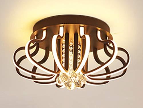 LED moderno cristal sala Lámparas de techo, Regulable Incrustado Iluminación de techo, para Cuarto balcón cocina isla bar Metal/Marrón /120W (50 CM)