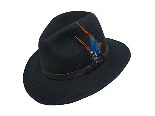Haute qualité pour homme Ranger 100% feutre de laine étanche Fedora Chapeau Bande de cuir - Bleu - petit