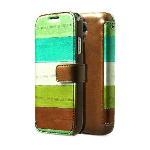 【日本正規代理店品】ZENUS Galaxy S4 SC-04E ケース 天然うなぎ革 Prestige Natural EEL Diary マルチグリーン 手帳タイプ Z1954GS4