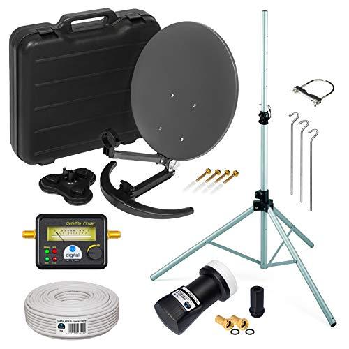 HD Camping Sat Anlage KOMPLETT SET im Koffer von HB-DIGITAL: Mini Sat Schüssel 40cm Anthrazit + Stativ + UHD Single LNB 0,1 dB + SF777 SATFINDER + 10m SAT-Kabel inkl. F-Stecker | Full HD 1080p