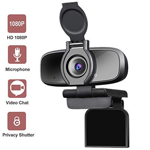 Dericam Webcam, Full HD Webcam mit Webcam Abdeckung, Kamera Computer für Spiele und Live-Streaming,mit Noise-Cancelling Mikrofon USB, ideal für Konferenzen und Videoanruf