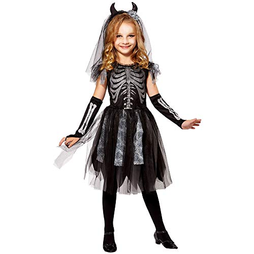 Widmann 07485 - Costume da scheletro per bambina, da sposa, colore: nero/grigio, 116 cm