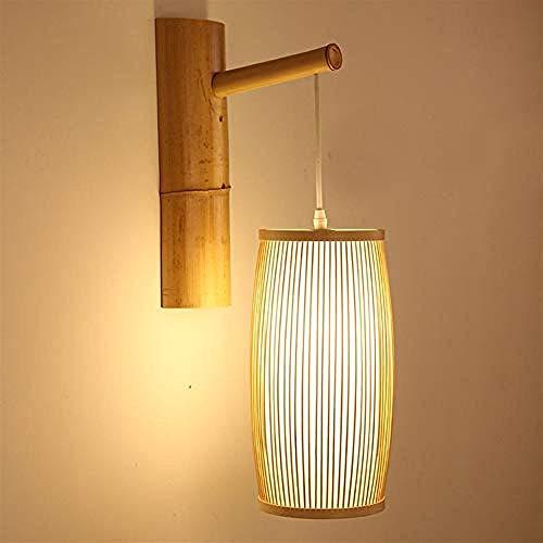 Lámpara Tradición de madera de bambú y Zen oriental con lámpara de pared E27 sombra de jaula para escaleras de pasillo