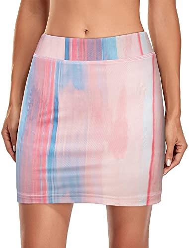 Kimmery Golf Skorts Skirts for Women with Elastic Waist Workout Athletic Skirt with Spandex Skort Side Pocket Summer Versatile Stretchy Fitness Gym Sportwear Pink Blue Stripes XXL