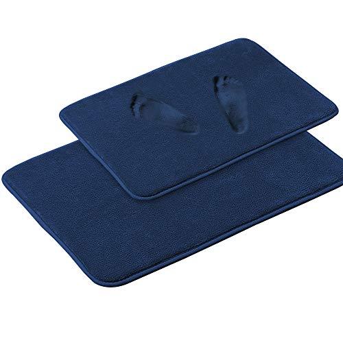 Juego de alfombrillas de baño de microfibra de espuma viscoelástica suave, extra absorbentes, lavables a máquina, juego de 2 piezas, 50,8 x 80,9 x 60,9 cm, azul marino