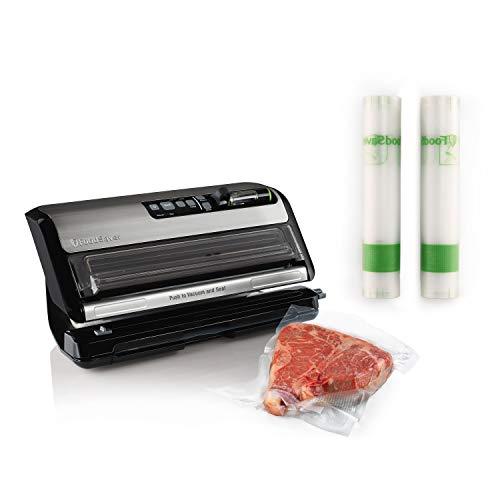 FoodSaver FM24350ECR Vacuum Sealer System with Handheld Sealer and Starter Kit & FoodSaver 11' x 14' Easy Seal & Peel Vacuum Seal Rolls, 2 Pack