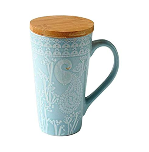 Handgemalte Prägen Keramik Kaffeetasse, Blaue Große Kapazität Becher Personifizierte Hohe Kaffeetasse Tee Tasse Mit Hölzernem Deckel, Für Geschenk Und Haushalts, Büro 480ML