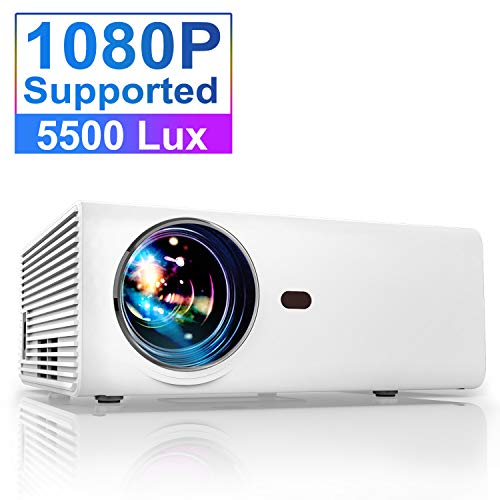 Projector, YABER Portable Projector with 5500LUX 60,000 HRS LED Lamp Life, 1080P and 200'' Supported, Full HD Mini Movie Projector Compatible with...