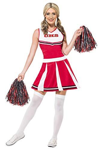 Smiffy\'s 40065S - Damen Cheerleader Kostüm, Kleid und Pompons, Größe: 36-38, rot