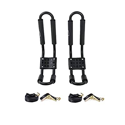 AA-Racks J-Bar Rack for Kayak Carrier Canoe Boat Paddle Board Surfboard Roof Top Mount on Car SUV Truck Crossbar with 16 Ft Ratchet Lashing Straps