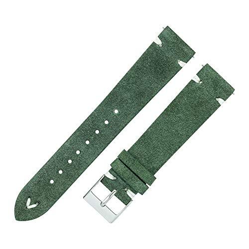 LIANYG Correa De Reloj Bandas de Reloj de Cuero Hechas a Mano para Hombres Mujeres 18mm 20 mm Multicolor Cuero Reloj Correas Reloj 42mm (Band Color : Green, Band Width : 18mm)