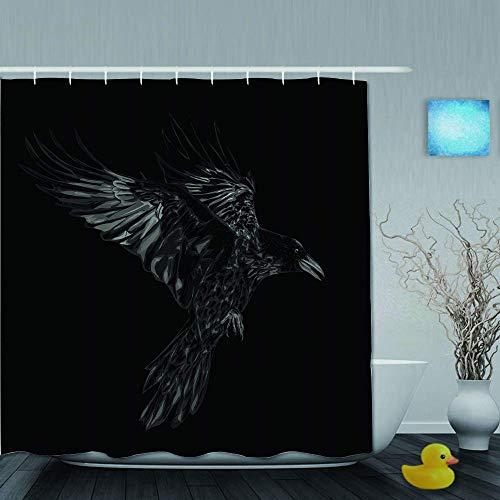 Cortina de ducha, pájaro de grunge, cuervo volador, página de vida silvestre negra, cuervo, detalle oscuro, dibujo, diseño vintage, tela de tela, juego de decoración para baño con ganchos de p