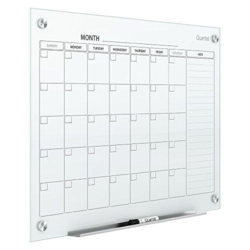 Quartet Magnetic Whiteboard Calendar, Glass Dry Erase White Board Planner, 3' x 2', White Surface, Frameless, Infinity (GC3624F)