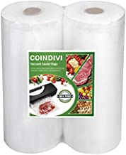 Vacuum Sealer Bags Rolls for Food Saver, 2 Pcs 7.8''x59''Reusable Seal A Meal Bags With BPA Free, Coindivi Customized Length Vacuum Bags Great For Sous Vide,freezer,Storage, Keep Meat, Fruit Fresh
