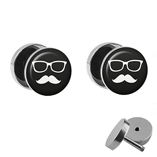 Treuheld® | Set - Schnauzer und Brille - 2 Ohrstecker zum Schrauben - SCHWARZ-WEIßE Moustache Fake Plug - Ø 10mm - Ohrringe Fakeplug - Silber Ohrring in Schwarz-Weiß - Chirurgenstahl Faketunnel