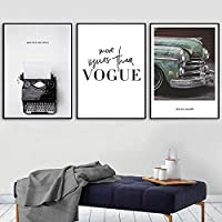 ZYQYQ装飾画キャンバスウォールアートポップペインティングレトロな写真リビングルームの写真ポスターヴィンテージカーのポスターとプリント北欧50x70cmx3額装なし