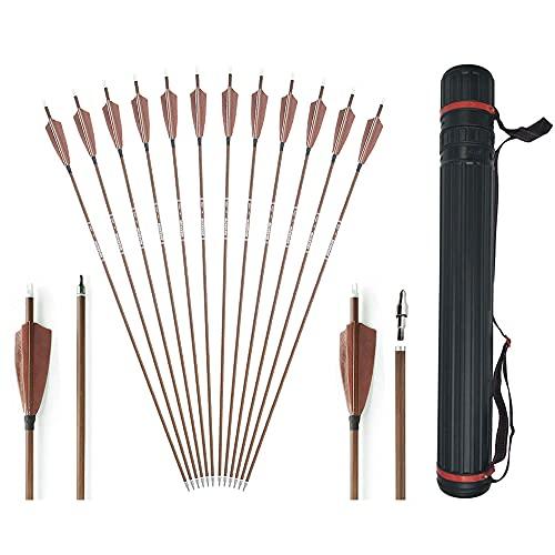 SHARROW 12PCS 32'' Flechas de Carbono Tiro con Arco Flechas y saetas Spine 340 400 500 600 para Arco Compuesto Recurvo Flechas de Caza para Caza o práctica, con carcaj de Flecha