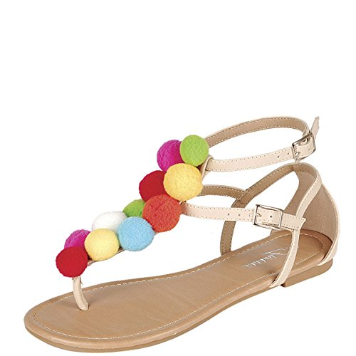 of forever women slippers Forever Womens Open Toe Colorful Rainbow Pom Pom Cluster Thong T-Strap Open Toe Flat Sandals