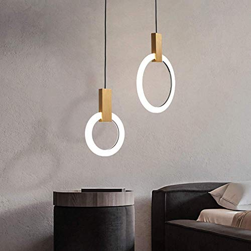 GaoF Luz led Simple y Moderna lámpara Colgante de Escalera dúplex Creativa Comedor de Tres Cabezas Anillo Circular Barra de Bar de una Cabeza luz de Restaurante