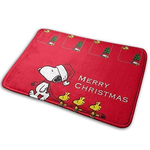 """GOU39-WCT Bienvenido Entrada felpudos Felices Navidad Snoopy Felpudo y Alfombrilla para Perro, Alfombrillas Antideslizantes de 15.7""""X 23.5"""" Alfombrillas Raspador de Zapatos"""