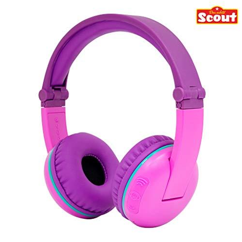 Kabellose Bluetooth Kopfhörer für Kinder - BuddyPhones Scout Play | Verstellbare Lautstärkebegrenzung zu 75, 85, 94 dB | Faltbar mit 14h Batterielaufzeit, Farbe:lila/pink