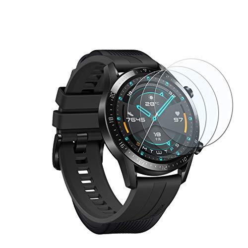 UCMDA Protecteur d'écran pour Huawei Watch GT 2 46 mm – [3 Pack] HD Full Verre Trempé 2.5D Touch, HD-Display, Anti-Bulles, pour Huawei Watch GT 2