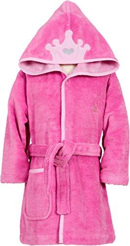Smithy Bademantel Kinder für Mädchen mit KRONE auf Kapuze, Farbe pink, Gr. 110/116