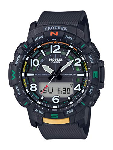 Casio Men's Pro Trek Bluetooth Connected Quartz Sport Watch with Resin Strap, Black, 22.2 (Model: PRT-B50-1CR)