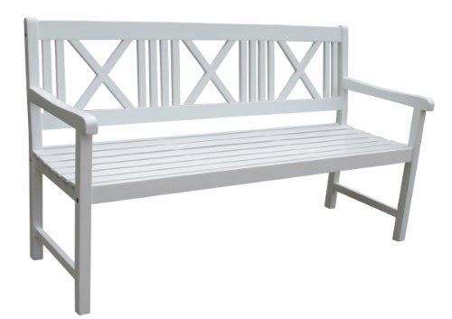 """VARILANDO Gartenbank """"Matthilde"""" als 3-Sitzer aus weiß lackiertem Akazienholz Sitzbank Holzbank"""