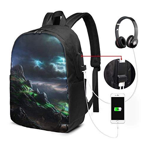 17-Zoll-Laptop-Rucksack mit USB-Ladeanschluss-Tasche, schillernde blitzschnelle Computer-Busin-Rucksäcke für Office Daypack