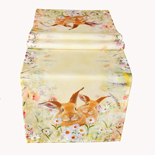 Kamaca Serie Hasen AUF DER BLUMENWIESE hochwertiges Druck-Motiv mit süssen Hasen Eyecatcher in Frühling Ostern (Tischläufer 40x140 cm)